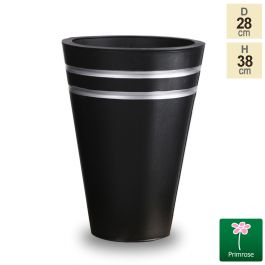 H38cm Tall Round Black Zinc Planter - By Primrose™
