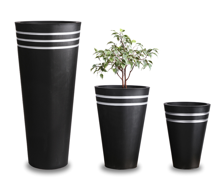 H38cm Tall Round Black  Zinc Planter - By Primrose®