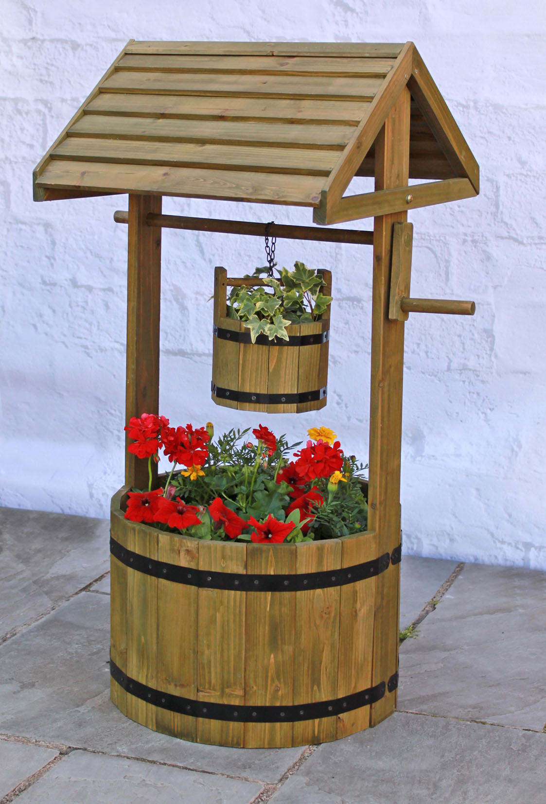 Wooden Decorative Wishing Well Planter H1m X D45cm 56 99