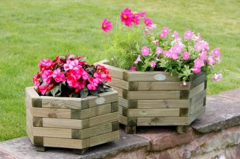 59cm Wooden Large Hexagonal Planter