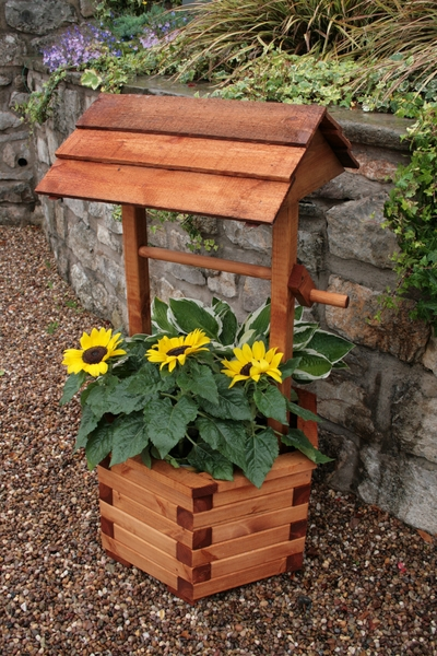 1 07m Wooden Wishing Well Planter 64 99