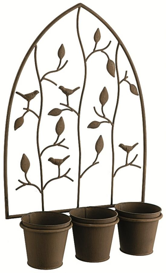 Nature Triple Pot Rustic Iron Wall Planter - H55cm x W40cm