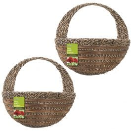 Set of Two 40cm Sisal Rope & Fern Decorative Wall Basket Planters by Gardman