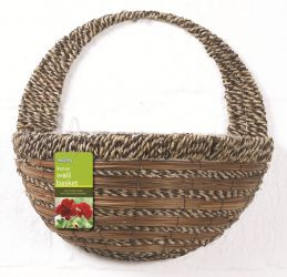 40cm Sisal Rope & Fern Decorative Wall Basket Planter