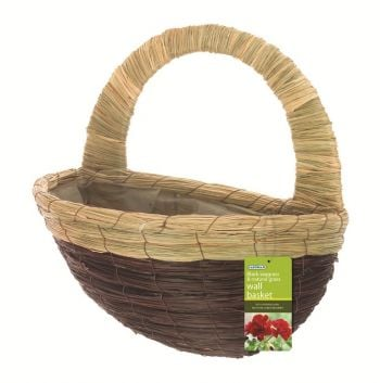 40cm Black Seagrass & Natural Grass Decorative Wall Basket Planter