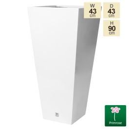 H90cm x W43cm Gel Coat Tall Flared Square Fibreglass Planter in White - By Primrose®