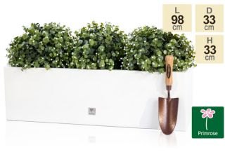 L98cm Gloss Fibreglass Trough Planter in White - By Primrose™