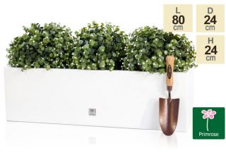 80 x 24cm Gloss Fibreglass Trough Planter in White - By Primrose™