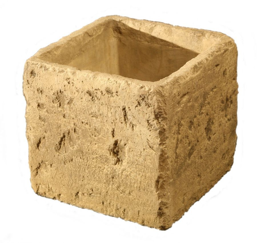 H37cm Concrete Natural Finish Cube Planter
