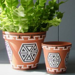 Pair Of Terracotta Handpainted Hexagon Pattern Planters - Dia 16cm/10cm