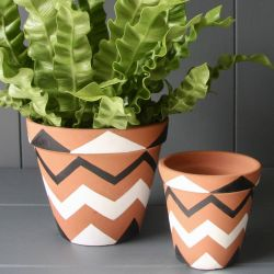 Pair Of Terracotta Handpainted Zigzag Pattern Planters - Dia 16cm/10cm