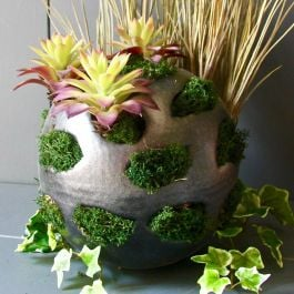 Dia 20cm Grey Iron Orb Planter