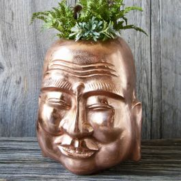 H26cm Copper Smiling Buddha Planter