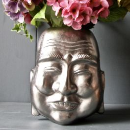 H26cm Pewter Smiling Buddha Planter