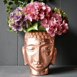 H26cm Copper Buddha Head Planter