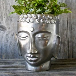 H26cm Pewter Buddha Head Planter