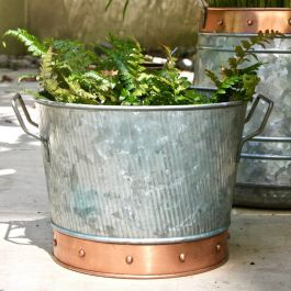 Dia 25cm Zinc Bucket Planter With Copper Trim