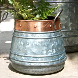 Dia 20cm Zinc Urn Planter With Copper Trim