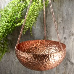 Dia 30cm Dimpled Copper Plated Hanging Planter