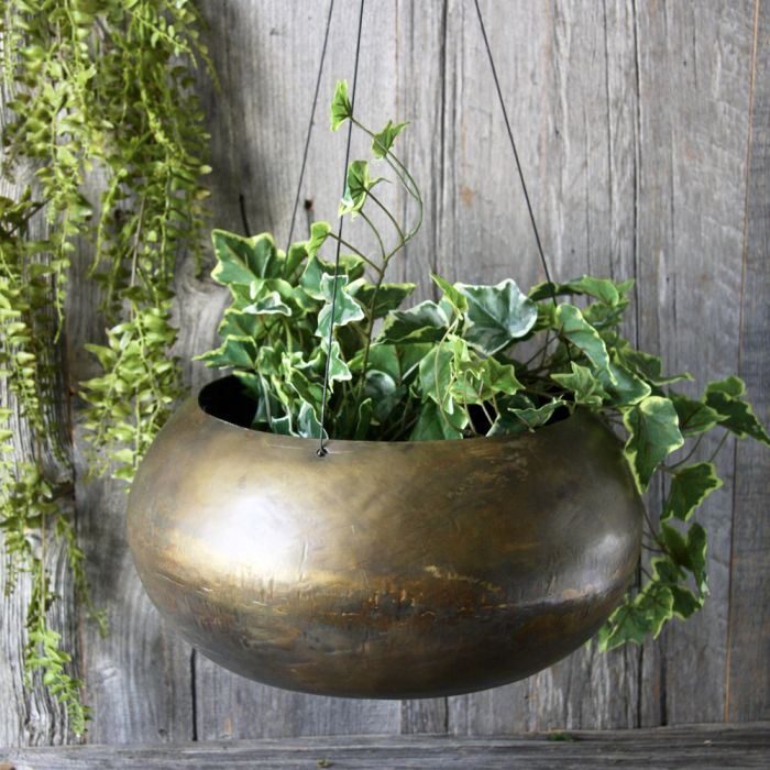Dia 34cm Aged Brass Hanging Planter