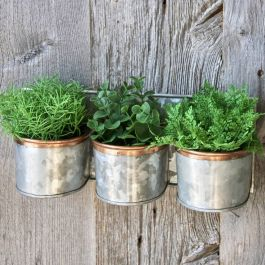 Dia 10cm Zinc And Copper Trim Triple Wall Planter