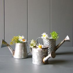 Set Of 3 Zinc Watering Can Planters - H10cm/9cm/8cm