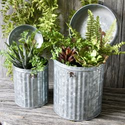 Pair Of Zinc Dustbin Planters - H20cm/15cm