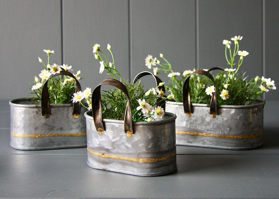Set Of 3 Zinc Oval Planters With Handles - L18cm/15cm/13cm
