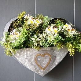 H27cm Zinc Heart Shaped Wall Planter