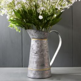 H24cm Zinc Pitcher Planter With Brass Trim