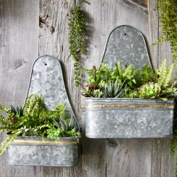 Pair Of Zinc Trough Wall Planters - H40cm/39cm