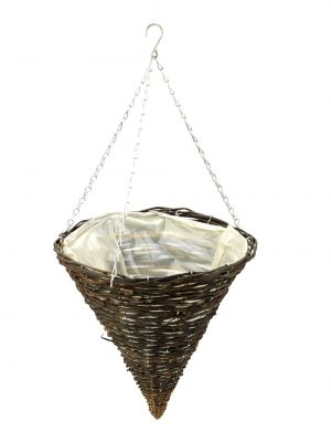 35cm Dark Willow Hanging Cone Planter