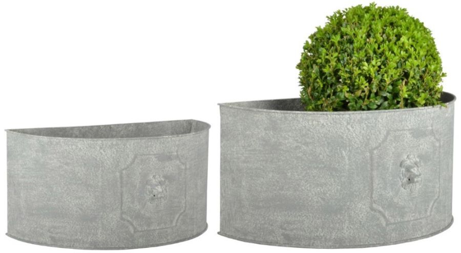 Set of Two Semicircle Lion Head Planters - 23.8 cm (9.3in) x 49.2 cm (1ft 7in)