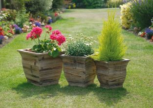 Contured Wooden Planters - Set of 3
