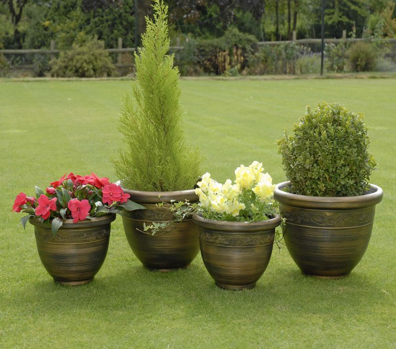 Antique Bronze Effect Resin Planters - Set of 4