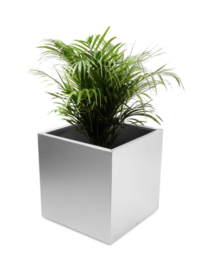 Cube Brushed Stainless Steel Planter - 40cm