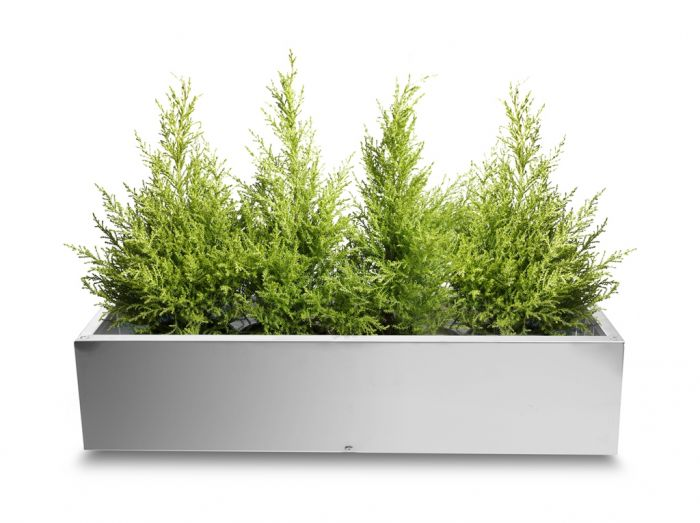 Trough Brushed Stainless Steel Planter - 100cm x 40cm
