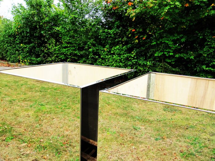 58cm Stainless Steel Mirrored Cube Planter
