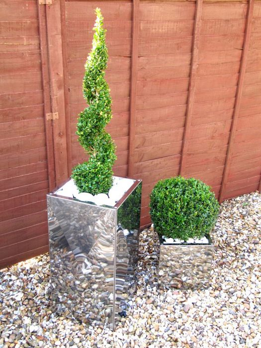 70cm Stainless Steel Mirrored Tall Square Planter