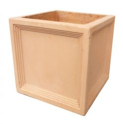 Mayfair Fibrecotta Terracotta Cube Planter - 24cm
