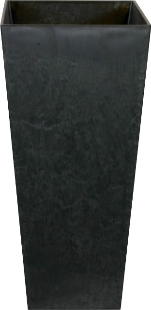 Black Ella Artstone Vase Planter with Hidden Drainage System - 49cm