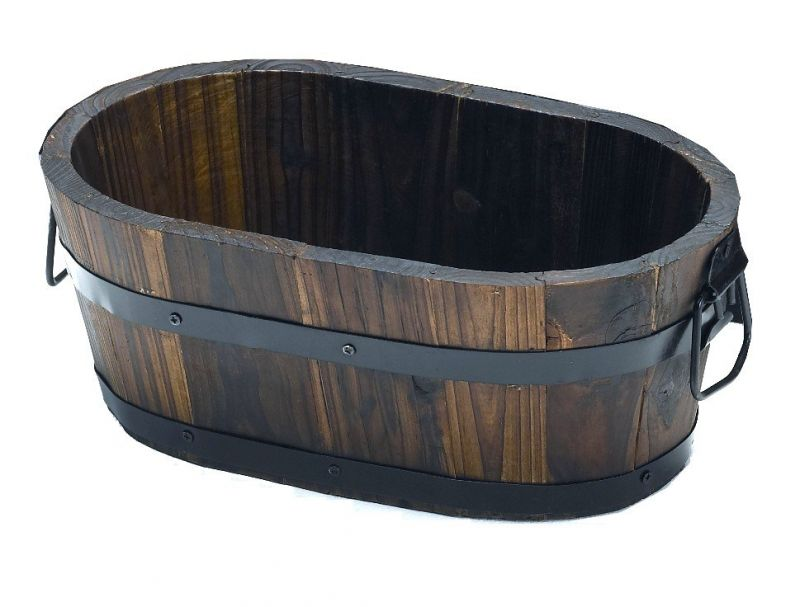 Burnt Wood Pine Oval Tub Planter with Handles - H15cm x L38cm