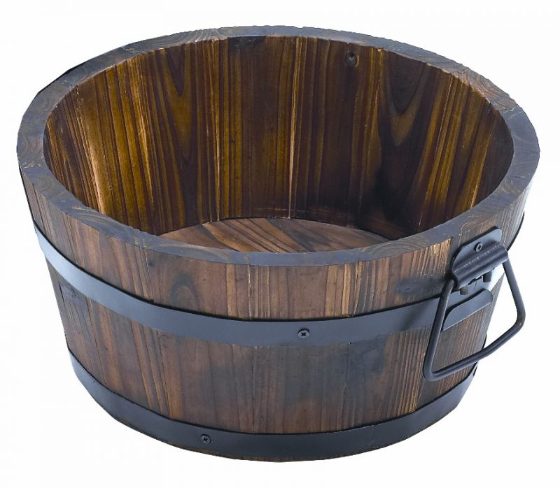 Burnt Wood Pine Low Barrel Planter with Handles - H17cm x D34cm