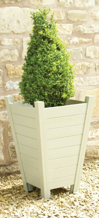 French Grey Wooden Tall Planter 163 28 99