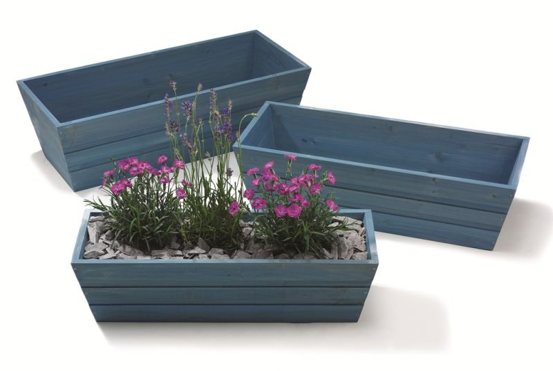 forget me not blue wooden window box trough planter small h17cm x l62cm. Black Bedroom Furniture Sets. Home Design Ideas