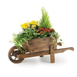 Decorative Burnt Wood Pine Wheelbarrow Planter - H28cm x L67cm
