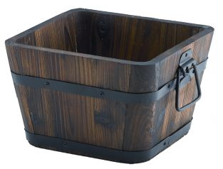 Burnt Wood Fir Square Planter with Handles Large - H18cm x L29cm