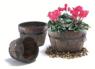 39cm Wood Pine Large Burnt Curved Barrel Planter with Handles