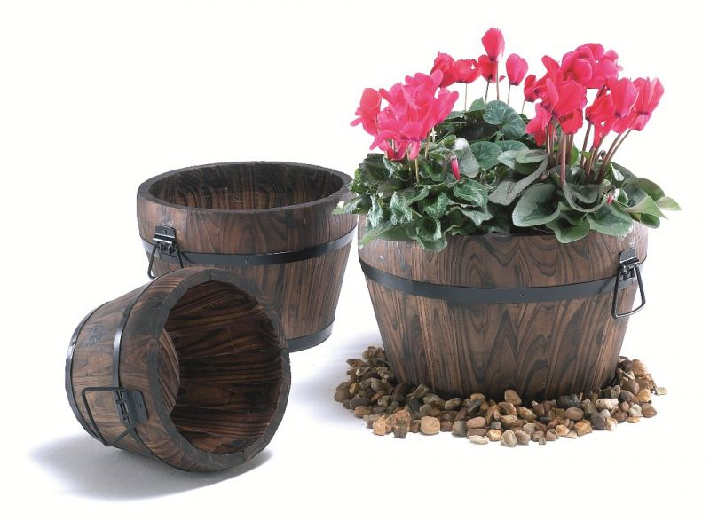 25cm Pine Wood Burnt Small Curved Barrel Planter With