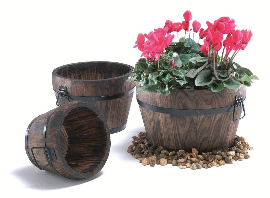 D32cm Pine Wood Medium Burnt Curved Barrel Planter with Handles